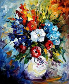 Original Recreation Oil Painting on Canvas  This is the best possible quality of recreation made by Leonid Afremov in person    Title: Dream Flowers  Size: 20 x 24 inches (50 cm x 60 cm)  Condition: Excellent Brand new  Gallery Estimated Value: $ 4,500  Type: Original Recreation Oil Painting on Canvas by Palette Knife    This is a recreation of a piece which was already sold.    The recreation is 100% hand painted by Leonid Afremov using oil paint, canvas and palette knife.    Its not an…