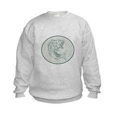 Largemouth Bass Fish Oval Etching Sweatshirt