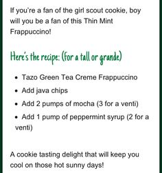 Did I see Starbucks and Thin Mints in the same paragraph?