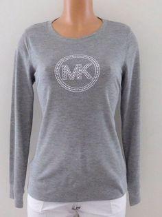 New Michael Kors Waffle Knit Top Pearl Grey w/ Studded Silver Logo Size Medium #MichaelKors #WaffleKnitTop