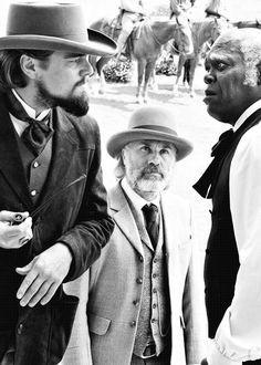 Leonardo DiCaprio, Christoph Waltz and Samuel L. Jackson in Django Unchained