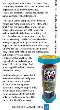 Using a game as a devotional tool! Full review of Find It Bible at link! #ClippedOnIssuu from Girlz 4 Christ Winter 2015/2016