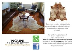 The Nguni Cowhide Company was founded in Cape Town, South Africa in With a PASSION for Contemporary, African design and Zulu culture Hide Rugs, Cow Hide Rug, Cow Skin, African Design, Contemporary, Modern, Animal Print Rug, Classic Style, The Selection