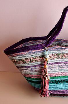 Basket Summer Bag BOHOCHIC Bag Handmade Basket by Annas7Closet