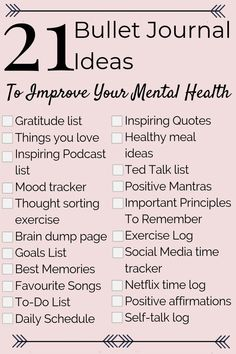 21 Mental Health Bullet Journal Ideas to Help You Relieve Anxiety Fast! Perfect … 21 Mental Health Bullet Journal Ideas to Help You Relieve Anxiety Fast! Perfect to add to your mental health and self care routine!