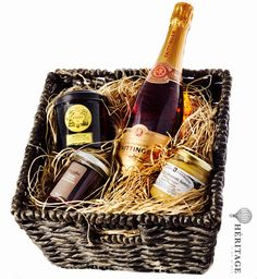 Perfect present for the Holidays, great idea for a birthday or just to treat yourself the way you deserve It's a selection of superb wines combined with other gourmet iconic items of the french gastronomy culture.  This Gift Basket includes : Champagne Taittinger Brut - Prestige Rosé Mariage Frères - Iconic Tea Metal Box Alain Milliat - French Jam Les Ruchers De Bourgogne - French Honey  http://www.heritagebeverlyhills.com/collections/gift-basket/products/gift-basket-2