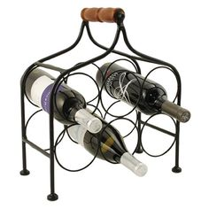 Twisted Tendril With a handle for mobility, this tiered wine rack holds six bottles of wine in a compact space.  Constructed with painted metal Solid wood handle Fits up to 6 standard sized bottles