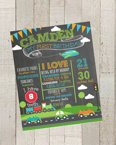 First Birthday Chalkboard Poster Planes by themilkandcreamco, $15.00 First Birthday Chalkboard Poster- Planes, Trains and Automobiles,100% CUSTOMIZED Poster Sign ,Boy Birthday PosterPrintable File