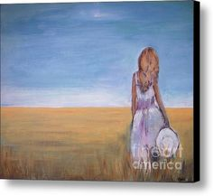 Girl In Wheat Field Canvas Print / Canvas Art By Vesna Antic