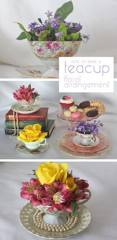 How to Create a Teacup Floral Arrangement Who needs a vase when you can use tea cups to make beautiful floral arrangements? Think Mother's Day, or any Sunday brunch or tea party. Mothers Day Brunch, Sunday Brunch, Brunch Decor, Brunch Table, Brunch Ideas, Brunch Party, Teacup Crafts, Tea Party Decorations, Tea Party Crafts