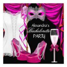 Bachelorette Corset Pink Masquerade Champagne Personalized Invitations