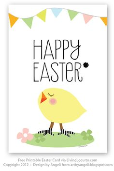 Free Printable Easter Card by Art by Angeli via LivingLocurto.com