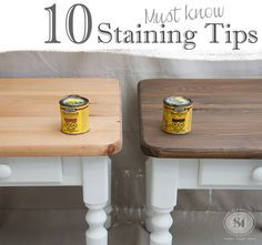 """Tips for Staining Wood Furniture Top 10 """"Must Know"""" Staining Tips. If staining your furniture or cabinets intimidates you, this is a must read!Top 10 """"Must Know"""" Staining Tips. If staining your furniture or cabinets intimidates you, this is a must read! Staining Wood Furniture, Furniture Projects, Furniture Making, Cool Furniture, Painted Furniture, Furniture Stores, Restore Wood Furniture, Staining Wood Cabinets, How To Paint Furniture"""