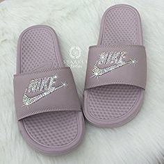 13e869b2fe60d6 Amazon.com  Swarovski Nike Slides - Nike Slip On Shoes For Women Rose Color NIKE  Benassi JDI Slides with Crystals Custom Nike Bedazzled Slip On Glitter ...