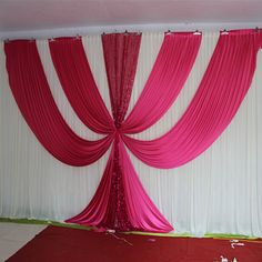 2017 New Design Fusia Ice Silk sequin swags and drapes wedding backdrop hot pink stage background event party decoration Wedding Backdrop Design, Diy Backdrop, Backdrop Decorations, Backdrop Event, Decoration Evenementielle, Background Decoration, Stage Background, Church Altar Decorations, Wedding Stage Decorations