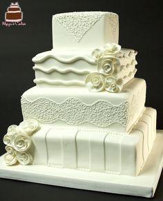 Romantic White Weddings - Custom Wedding Cakes