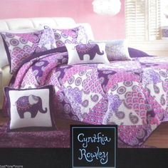 PURPLE PINK PAISLEY BOHO PINWHEEL TWIN QUILT 2pc SET CYNTHIA ROWLEY CIRCLE WHITE #CynthiaRowley #Moroccan