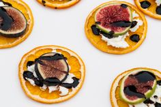 Simple & Crisp Orange with cheese, fig and a balsamic reduction for this easy, elegant appetizer