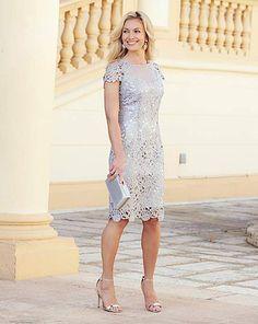 JOANNA HOPE Short Sleeve Lace Dress | Fifty Plus