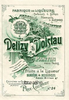 Vintage French Absinthe Label by BreatheDecor on Etsy, $2.50