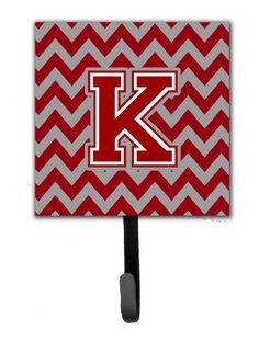 Letter K Chevron Maroon and White Leash or Key Holder CJ1049-KSH4