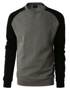 LE3NO PREMIUM Mens Varsity Fleece Raglan Crewneck Sweatshirt