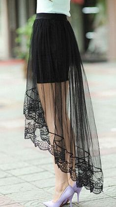 New Summer Women Sexy Lace Skirts Womens Fashion Long Section Skirt Jupe Tulle Black and White Short Skirt