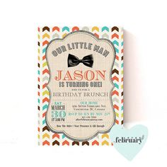Printable Little Man Birthday Invitation  Bow Tie by AfterFebruary