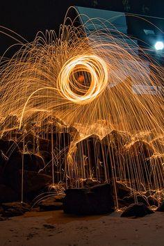 Le lightpainting avec laine d'acier