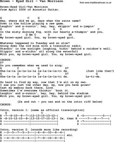 Song Brown by Eyed Girl by Van Morrison, with lyrics for vocal performance and accompaniment chords for Ukulele, Guitar Banjo etc.