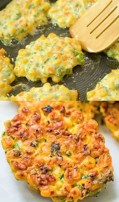 Corn Fritters - Holiday Recipes: Menus, Desserts, Party Ideas from Food Network . Gluten Free Recipes For Dinner, Easy Dinner Recipes, Appetizer Recipes, Breakfast Recipes, Vegetarian Recipes, Cooking Recipes, Healthy Recipes, Vegetarian Lunch, Breakfast Casserole