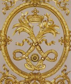 DETAIL OF A DOOR EMBLAZONED WITH THE KING'S INSIGNIA IN VERSAILLES (photo BY FRANCIS HAMMOND FOR ' VERSAILLES, A PRIVATE INVITATION '.)