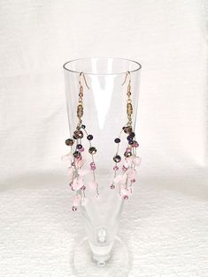 Handmade chandelier earrings featuring falling branches with rose quartz semi precious stones. Chandelier Earrings, Drop Earrings, Handmade Chandelier, Branches, Rose Quartz, Earrings Handmade, Bugs, Plating, Stones