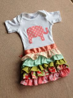 Sweet Ruffle Apron onsie bodysuitelephant  by happinessliveshere, $20.00