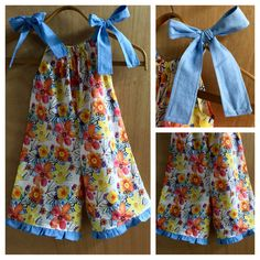 Pillowcase Flowered Cotton Boho/Hippie Girl Shorts Romper, size 3t by SewMeems on Etsy