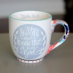 Psalm 46:10 is a wonderful, peaceful way to start your morning off and drinking coffee or tea is a pleasure with our beautiful painterly mugs. Details: Coffee Mug | Be Still and Know Mug/Psalm 46:10 |