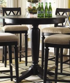 American Drew Camden-Black Round Table - this is a good idea also since we are all tall.