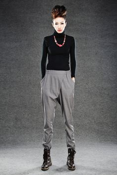 Elegance Casual The waist Pants in  Gray C013 by YL1dress on Etsy