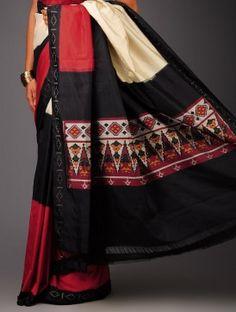Beige-Black-Red Ikat Silk Saree