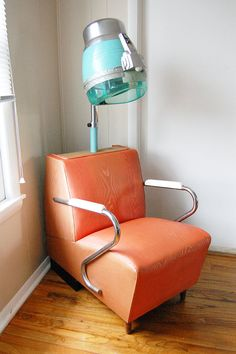 This would be awesome if you can rig the dryer with a lamp kit. Vintage Salon Hair Dryer Chair by Homolicious on Etsy, $150.00