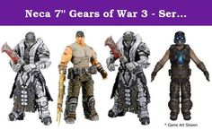 """Neca 7"""" Gears of War 3 - Series 3 Set of 4 Action Figures. NECA is very excited to announce the next action figure series in the Gears of War 3 line of merchandise. The long awaited sequel to the 15+ million selling Gears of War franchise released this September and shattered sales records. Our popular line of action figures continues to to expand as we celebrate the Gears of War trilogy. These all new sculpts are the most articulated and detailed Gears of War figures to date. Featuring…"""