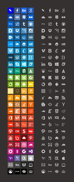 Freely available brands icon set featuring icons of popular online brands and the color from their corporate style guides.