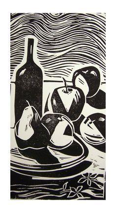 Still-life with fruits and wine bottle - linoleum cut print, 1992 Jorge Luis Somarriba
