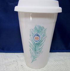 Mug Cup Travel Peacock Feather Coffee Tea by PorcelainChinaArt