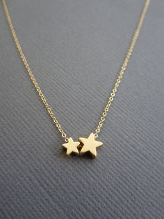 Star Necklace 2 stars necklace Dainty jewelry Wedding by Muse411, $28.00
