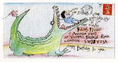 It's a tradition in the children's book industry that illustrators often send in post to their publishers with a little something drawn on the front of the envelopes they use. This one's from David Mckee.