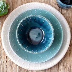 Ocean Blue Ombré Dinnerware Set - Dinner Plate Salad Plate and Bowl - 3 Piece Set - Made to Order