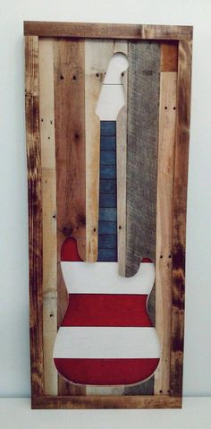 Use Pallet Wood Projects to Create Unique Home Decor Items – Hobby Is My Life Guitar Art Diy, Guitar Wall Art, Pallet Art, Diy Pallet Projects, Craft Projects, Pallet Ideas, Craft Ideas, Diy Wall Art, Wood Wall Art