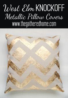 West Elm Knock Off Metallic Pillows
