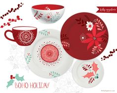 by Kelly Angelovic #kindredArtCollective #Plate #HomeDecor #Xmas #Christmas #Holidays #Design #Art #Illustration #Boho